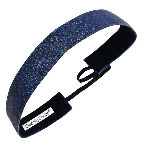 Metallic Shimmer | Black, Blue | 1 Inch Sweaty Bands Non Slip Headband