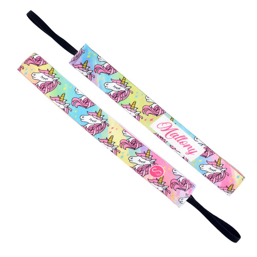 Monogram Born a Unicorn Name Multi Sweaty Bands Non Slip Headband