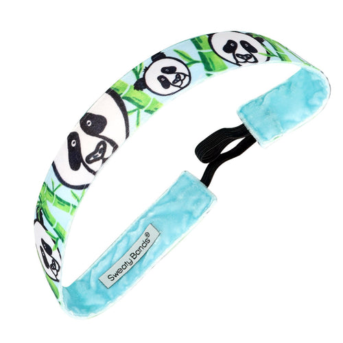 Panda-monium | Blue, Black, White | 1 Inch Sweaty Bands Non Slip Headband