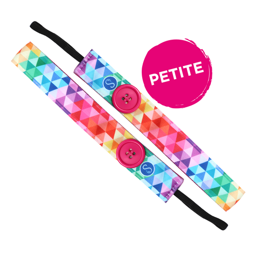 Petite | Buttons | Love Triangle | Multi | 1 Inch Sweaty Bands Non Slip Headband
