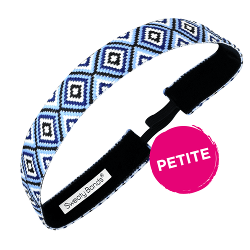 Petite | Diamond Girl | Light Blue, Navy | 1 Inch Sweaty Bands