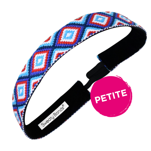 Petite | Diamond Girl | Red, Blue | 1 Inch Sweaty Bands