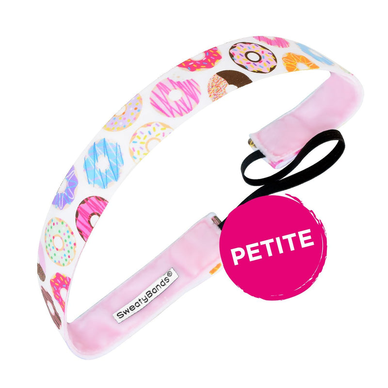 Petite | Donut Give Up | White, Multi | 1 Inch Sweaty Bands Non Slip Headband