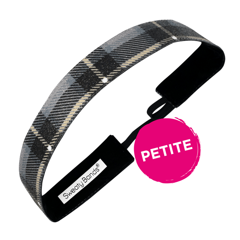 Petite | Holiday | Mad For Plaid | Shimmer | Black | 1 Inch Sweaty Bands Non Slip Headband