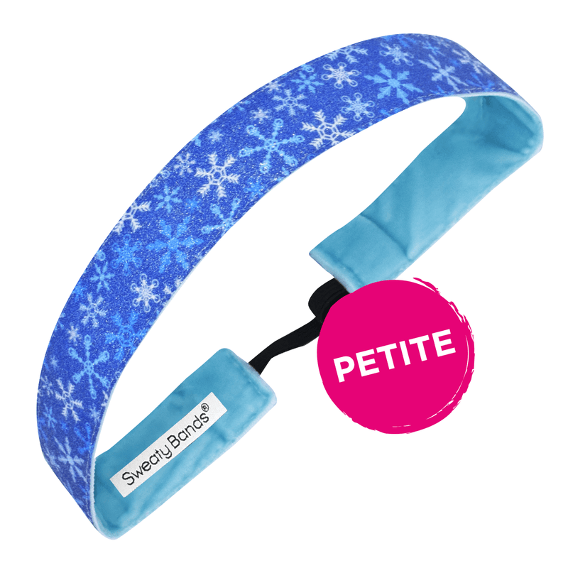 Petite | Holiday | Winter Wonderland | Shimmer | Blue | 1 Inch Sweaty Bands Non Slip Headband