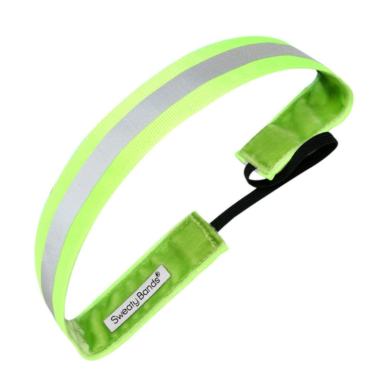 Reflective Runner Green, Silver Sweaty Bands Non Slip Headband