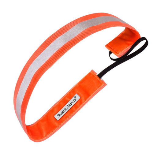 Reflective Runner Neon Orange, Silver Sweaty Bands Non Slip Headband