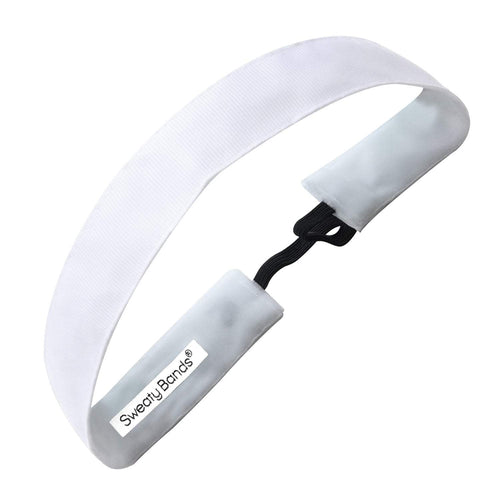 Rock Solid | White | 1 Inch Sweaty Bands Non Slip Headband