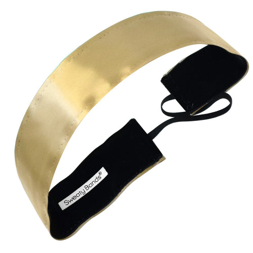 Simply Satin Thick Gold Sweaty Bands Non Slip Headband