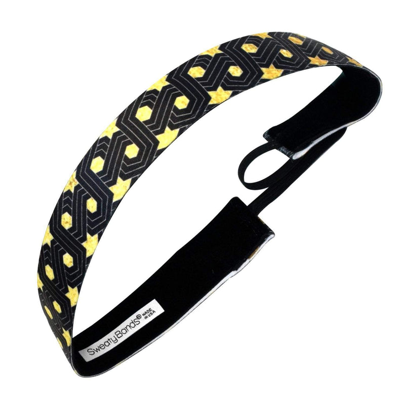 Super Star | Black, Gold | 1 Inch Sweaty Bands