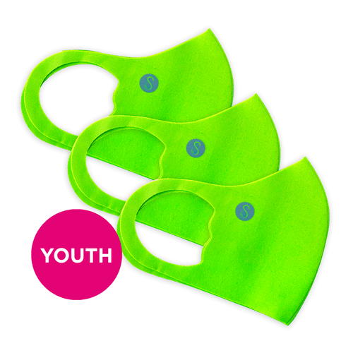 Youth | Face Mask | Extra | 3 Pack | Neon Green Sweaty Bands Non Slip Headband