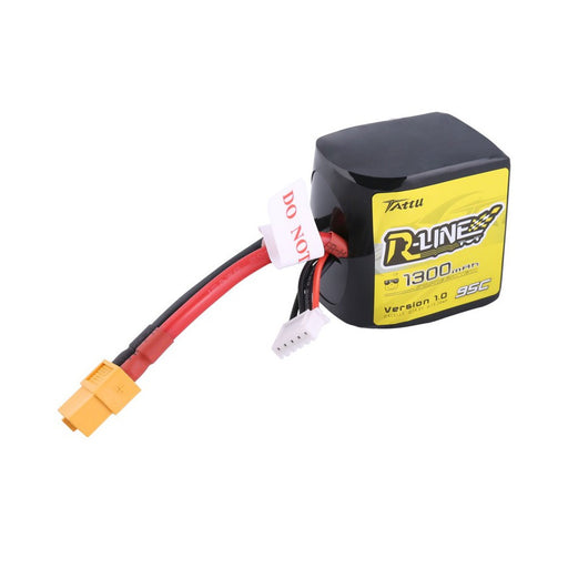 Tattu R-Line V1 1300mAh 4s 14.8V 95C Square LiPo Battery (XT60)