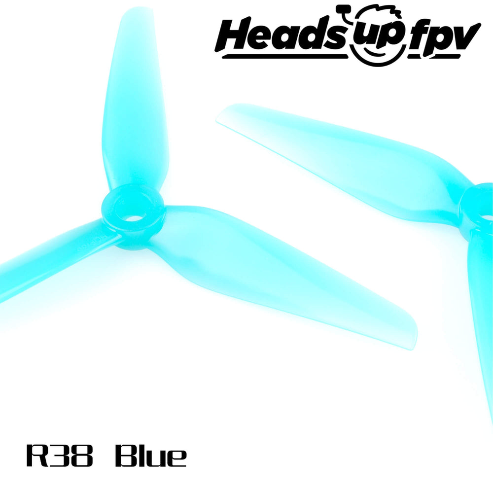 HQProp HeadsUp Racing Blue 5.1in 3-Blade Drone Propellers - 1
