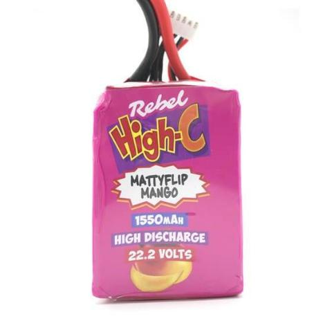 Rebel Miniquads High-C LiPo Battery - 1550mAh, 6s, 22.2V - Front
