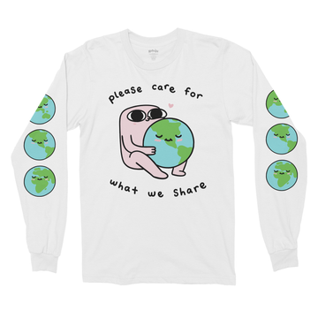 Please Care White Long Sleeve