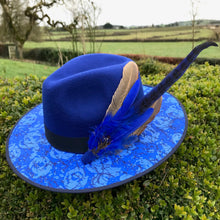 (BN27) Royal Blue Fedora with Blue Feather Hat Pin for Hire