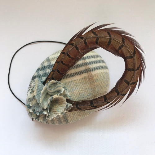 Heather - Pale Blue Tweed Check Headpiece
