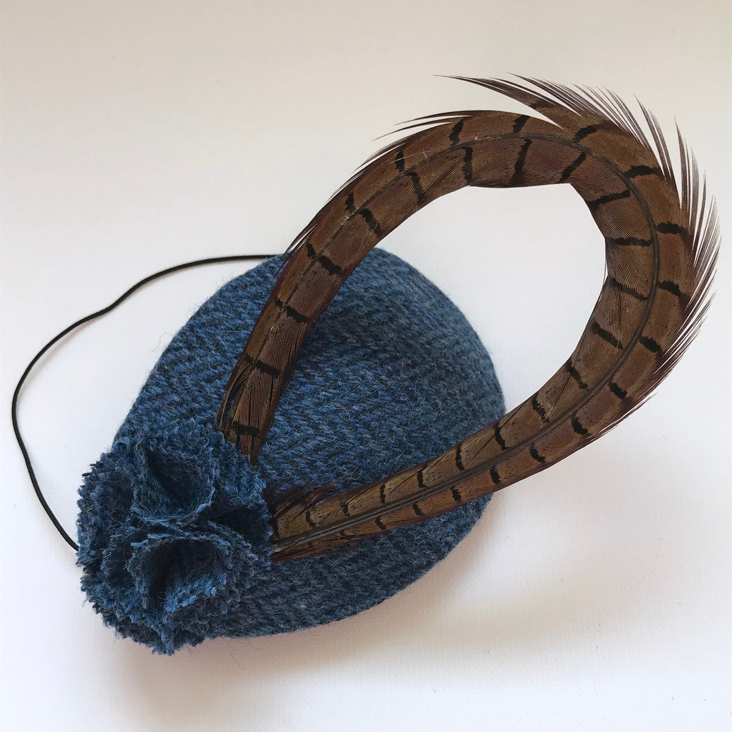 Blue tweed headpiece