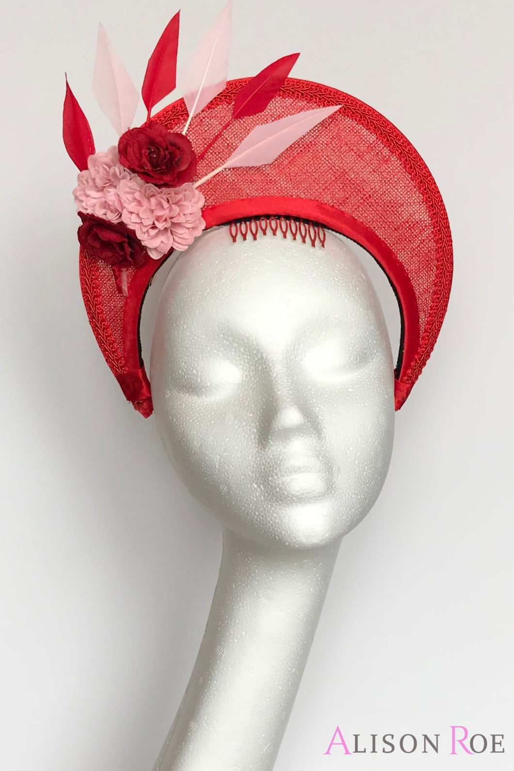 Red and pink crown headpiece to hire
