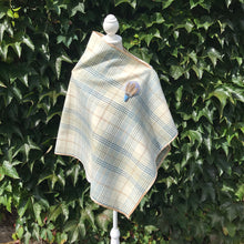 Pale blue tweed check cape