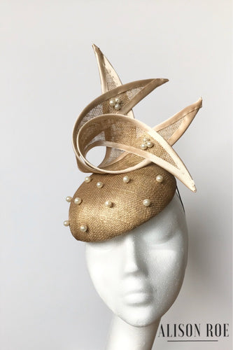Gold designer wedding headpiece hat to hire