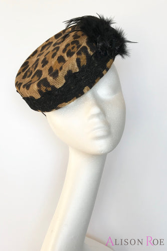 Leopard print pillbox hat to hire