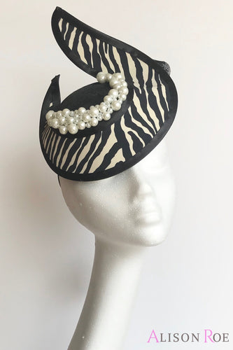 Zebra print headpiece to hire