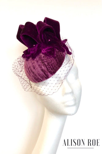 Hilda - Velvet Veiled Headpiece in Plum Pink