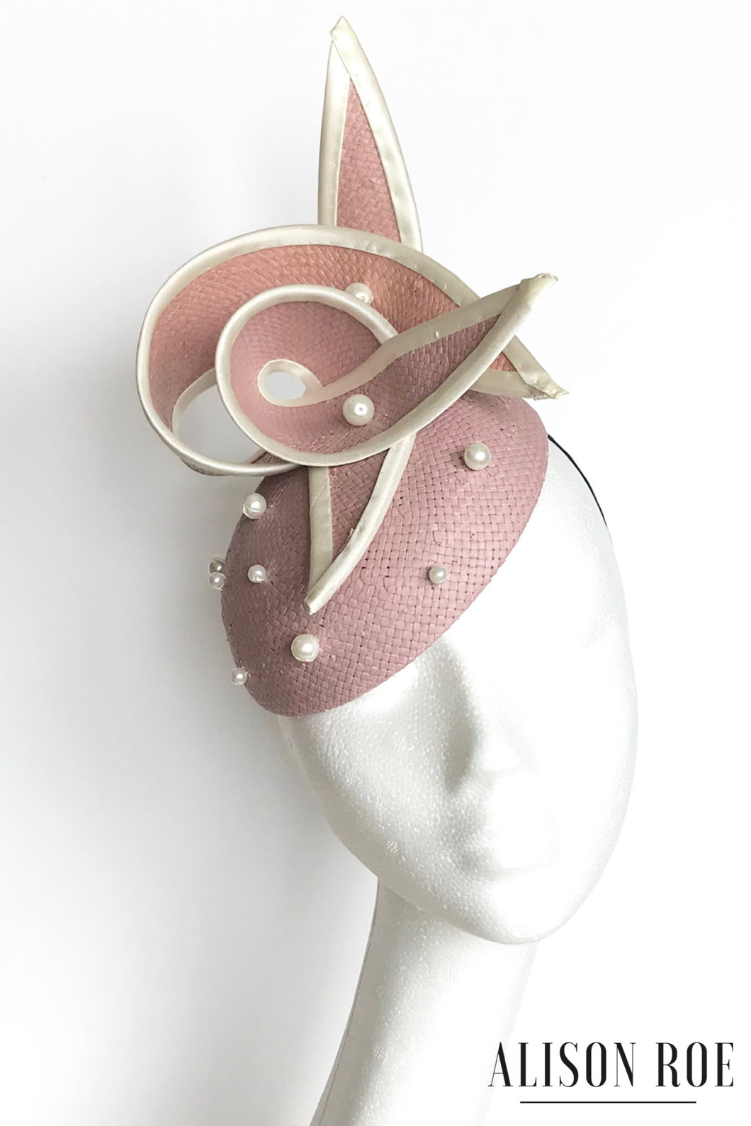Blush pink headpiece for hire - hat hire Tipperary