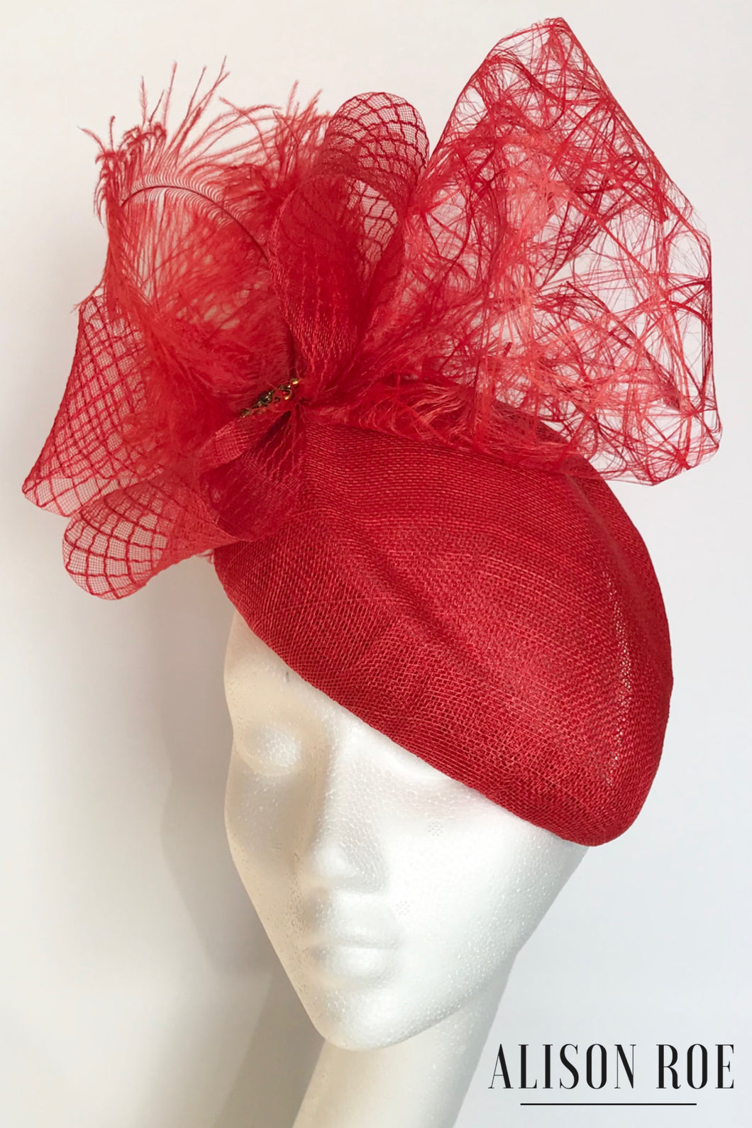 Red teardrop headpiece