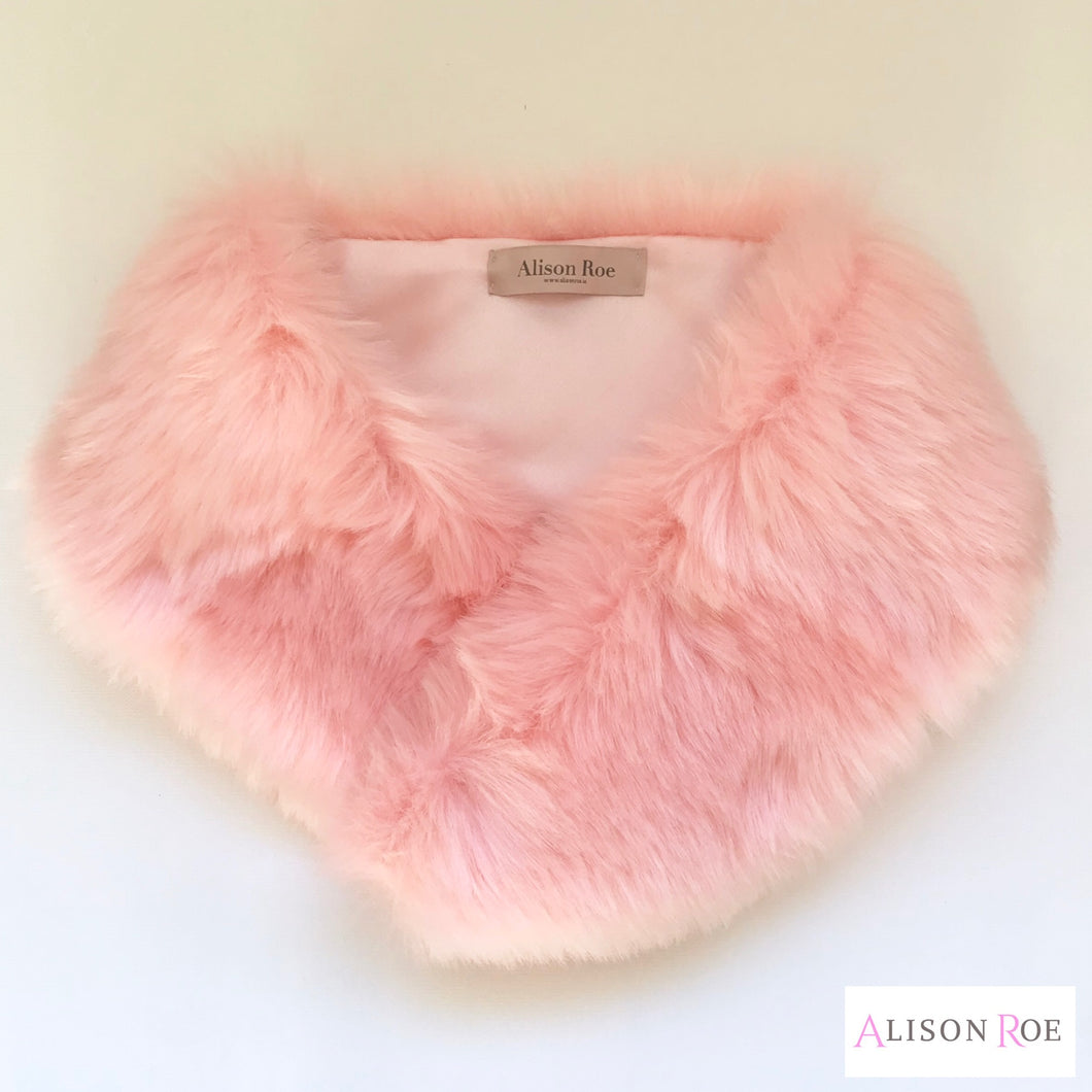 pink faux fur collar