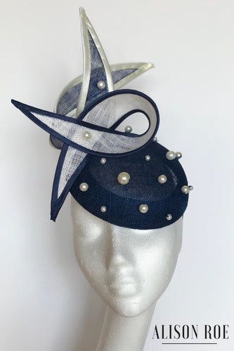 B51 - Navy & Ivory Pearled Swirl Headpiece for Hire