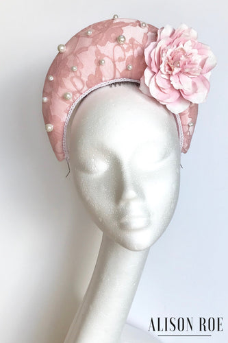 Blush pink halo crown designer headpiece to hire