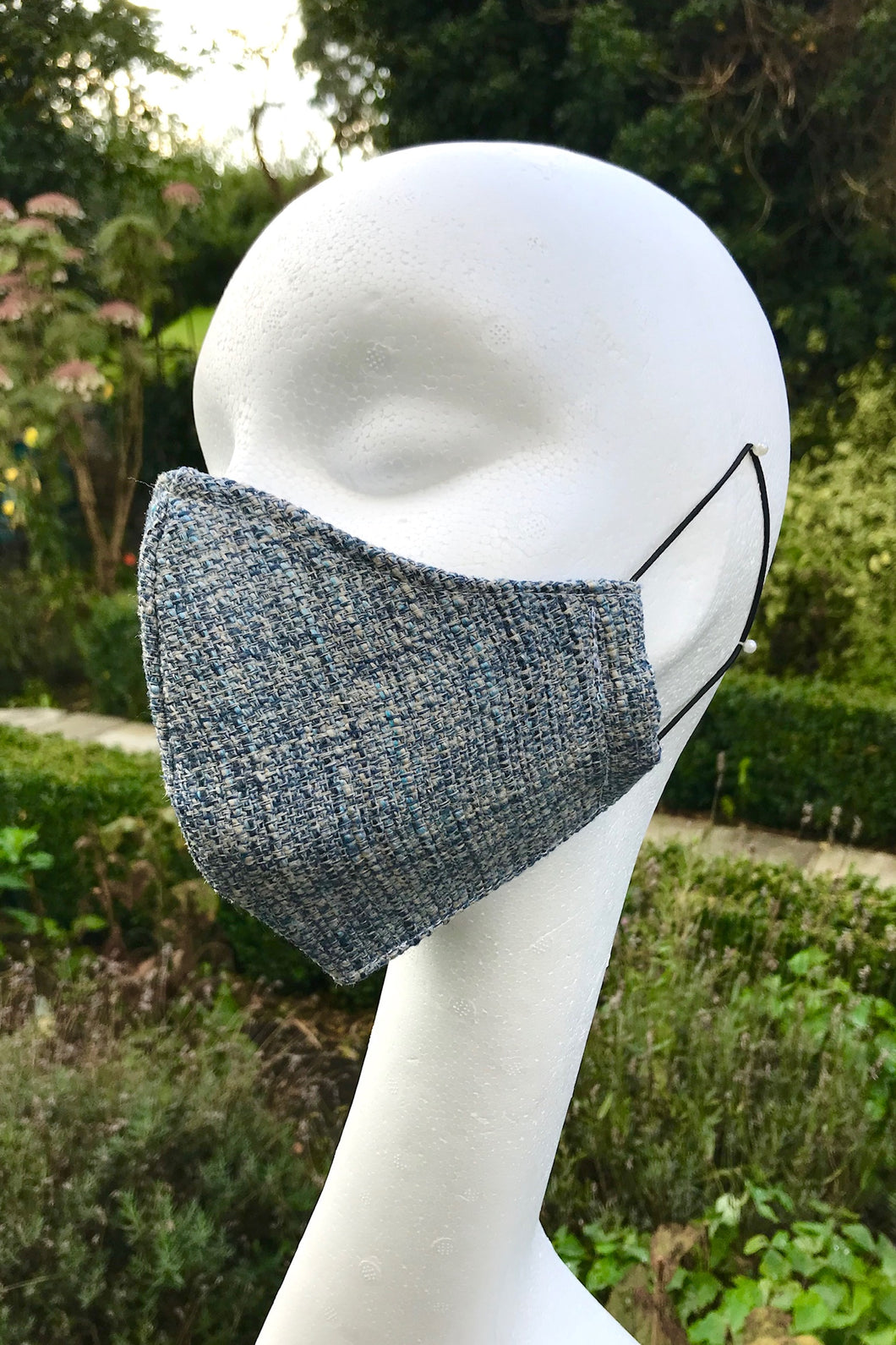 Adult Fabric Face Mask - Linen Tweed (Blue)