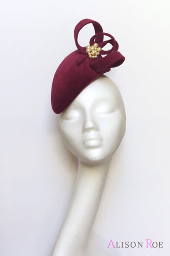 Magenta plum velvet teardrop headpiece to hire
