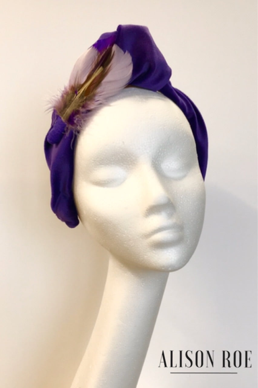 purple velvet headband