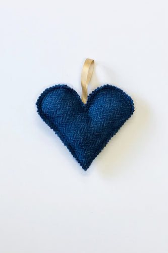 Blue tweed heart accessory