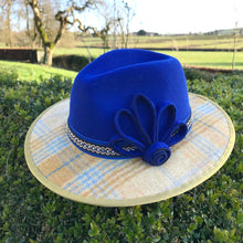 Lara - Luxury Bespoke Fedora in Royal Blue with Tweed Brim