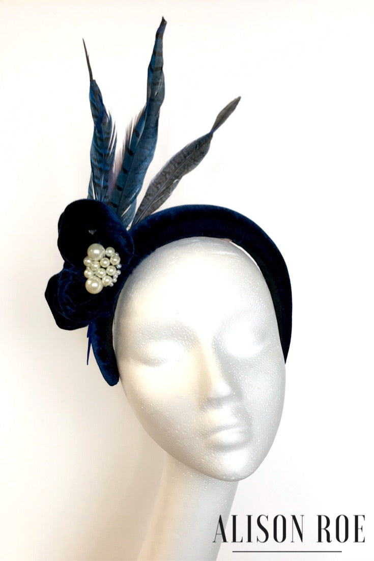 A69 - Navy Velvet Feather Headband for Hire