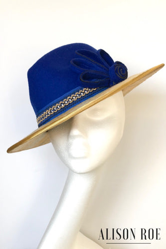 Royal blue couture fedora