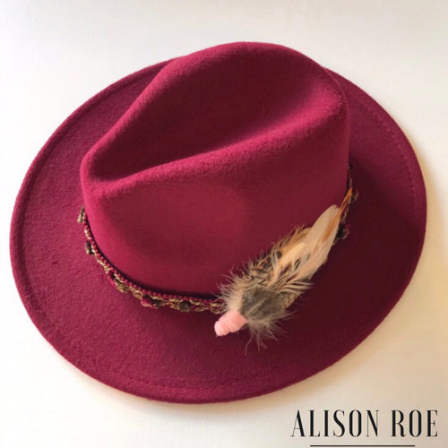 (R11) Wine Fedora with Pink Feather Hat Pin for Hire
