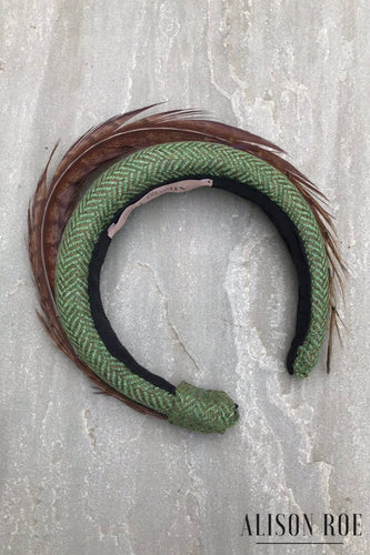 Faye - Luxury Tweed Headband in Green