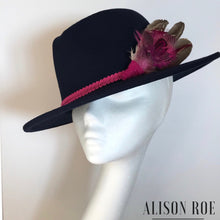 (BN28) Navy Blue Fedora with Pink Feather Hat Pin for Hire