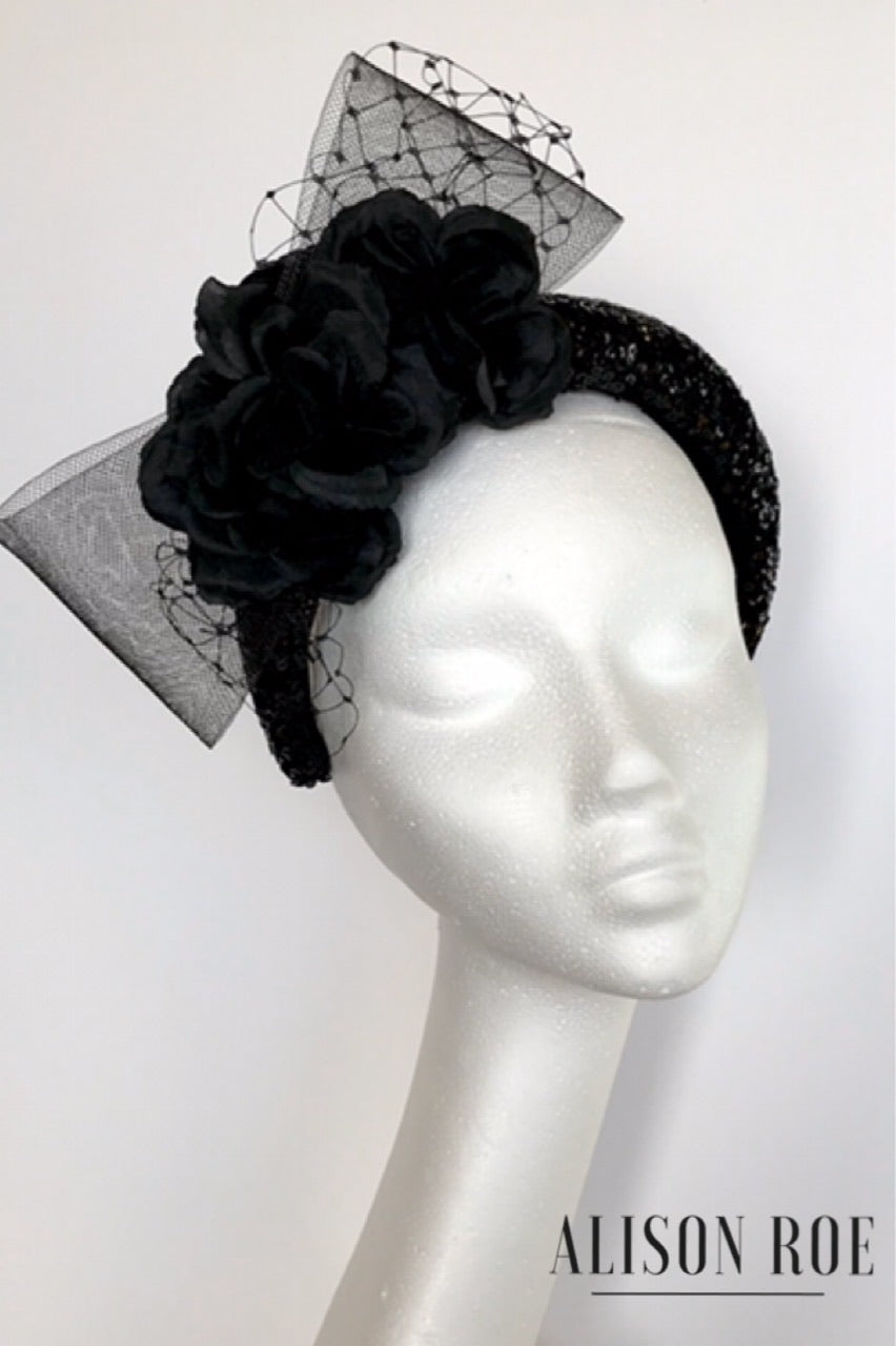 A65 - Black Sequin Headband for Hire