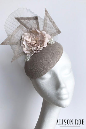 Taupe headpiece to hire