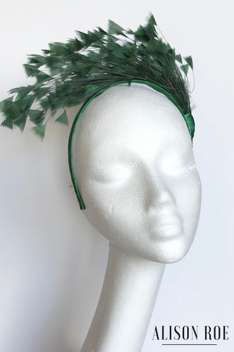 A60 - Green Feather Headband for Hire