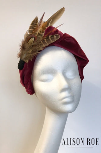plum maroon headband to hire