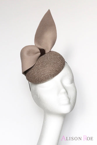 Beige tweed headpiece for hire