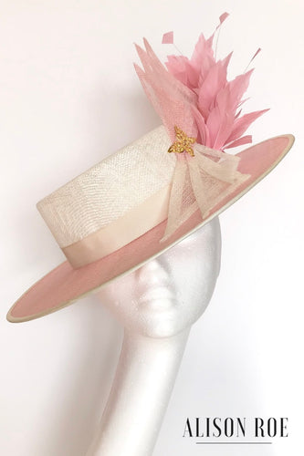 Large pink and ivory boater hat