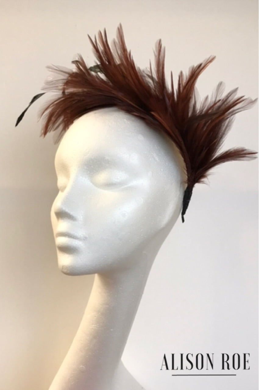 Brown feather headband for hire - Tipperary Hat Hire